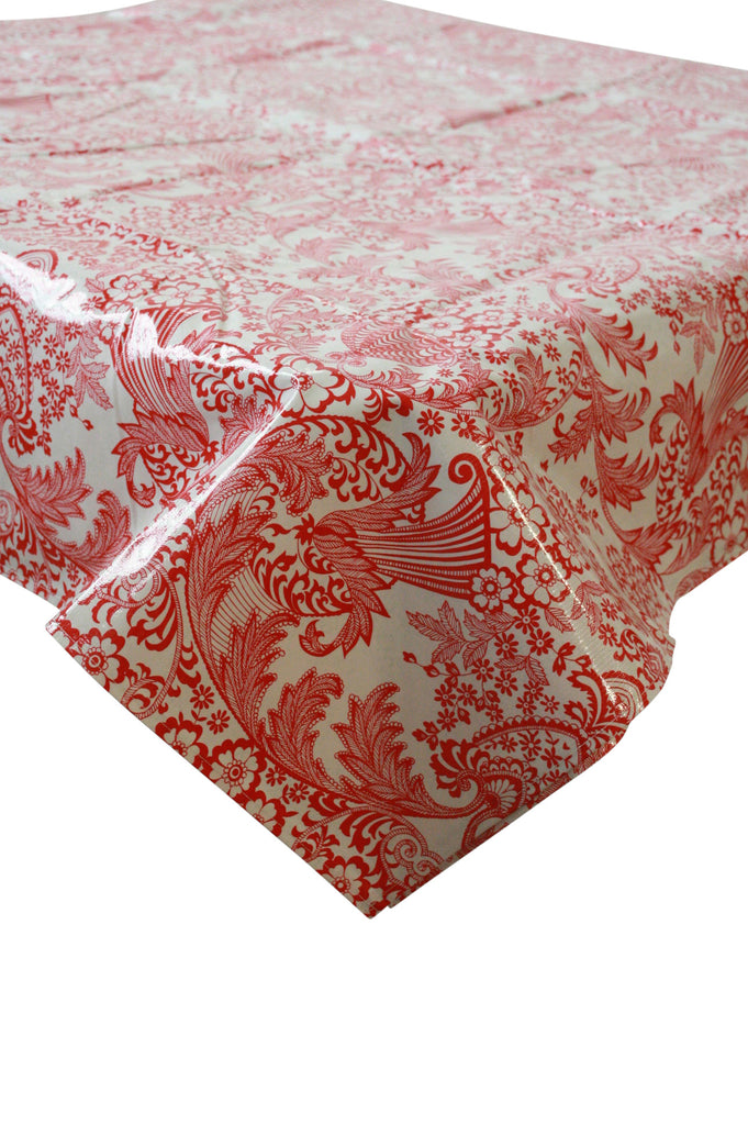 Toile Red Oilcloth Tablecloth with Simple Hem