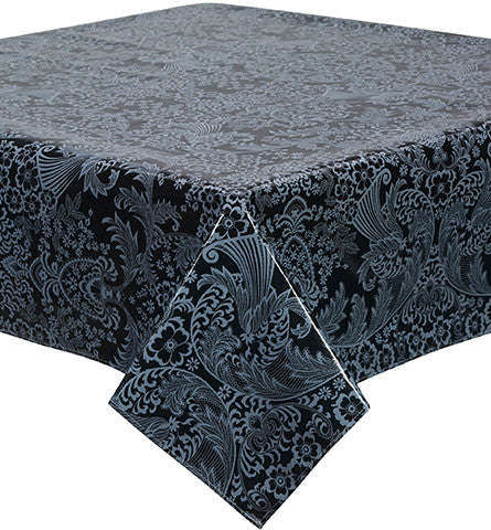 Toile White on Black Oilcloth Tablecloth You Pick the Size