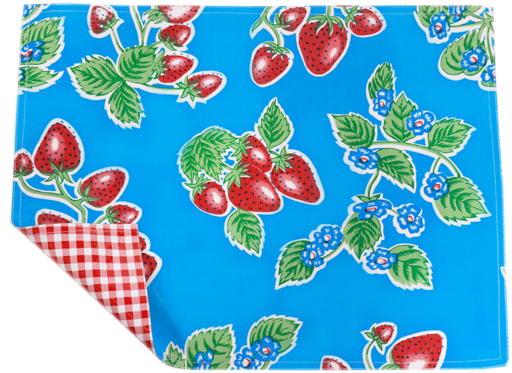 Freckled Sage Oilcloth Placemats Strawberry Light blue