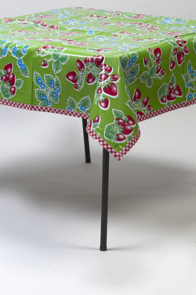 Marvelous Strawberry Green Oilcloth Tablecloth