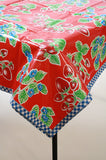 Strawberry Red Oilcloth Tablecloth