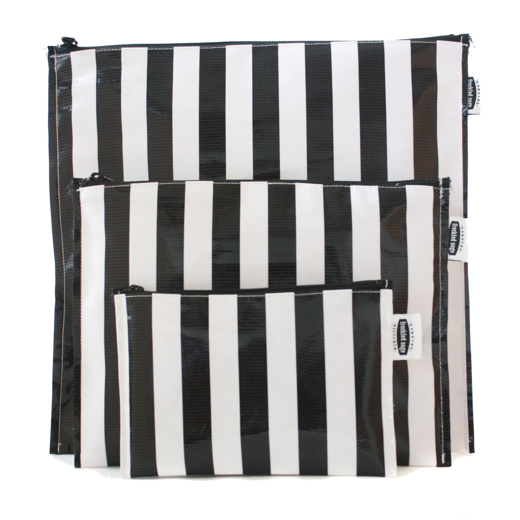 Freckled Sage Trio Bag Set Stripe Black Oilcloth