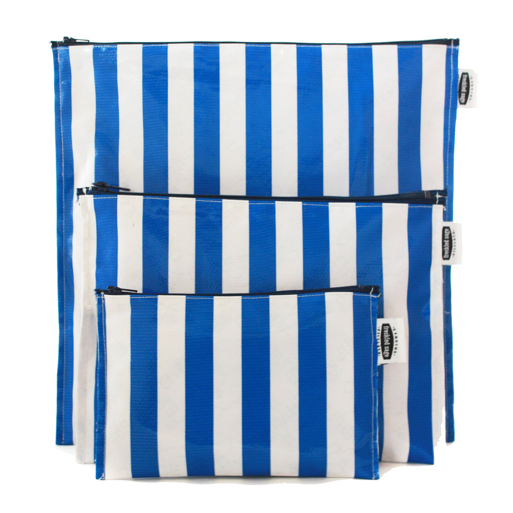 Freckled Sage Trio bag Set Blue Stripe Oilcloth