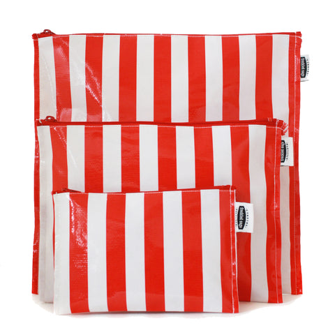 Freckled Sage Trio Bag Set Stripe Red Oilcloth