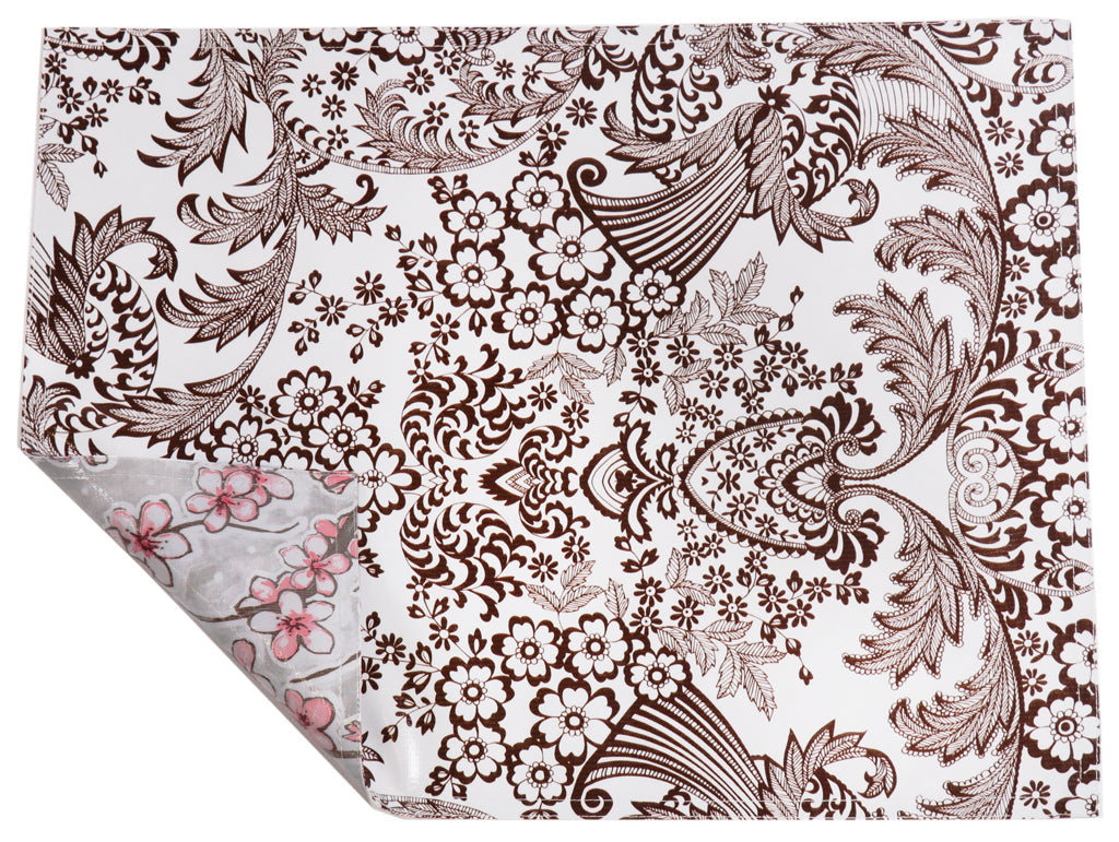 Freckled Sage Oilcloth Placemat Toile Brown