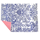 Freckled Sage Genuine Oilcloth Placemats in Toile Blue