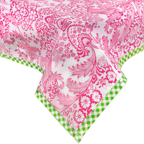 Toile Pink with Lime Gingham Trim Oilcloth Tablecloth