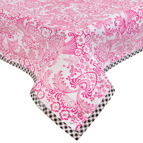 Freckled Sage Oilcloth Tablecloth Toile Pink with Black GT