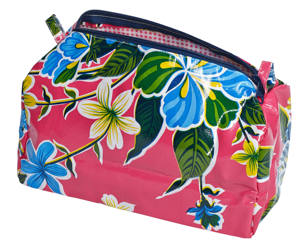 Freckled Sage Oilcloth Travel Bag Pink Hawaii