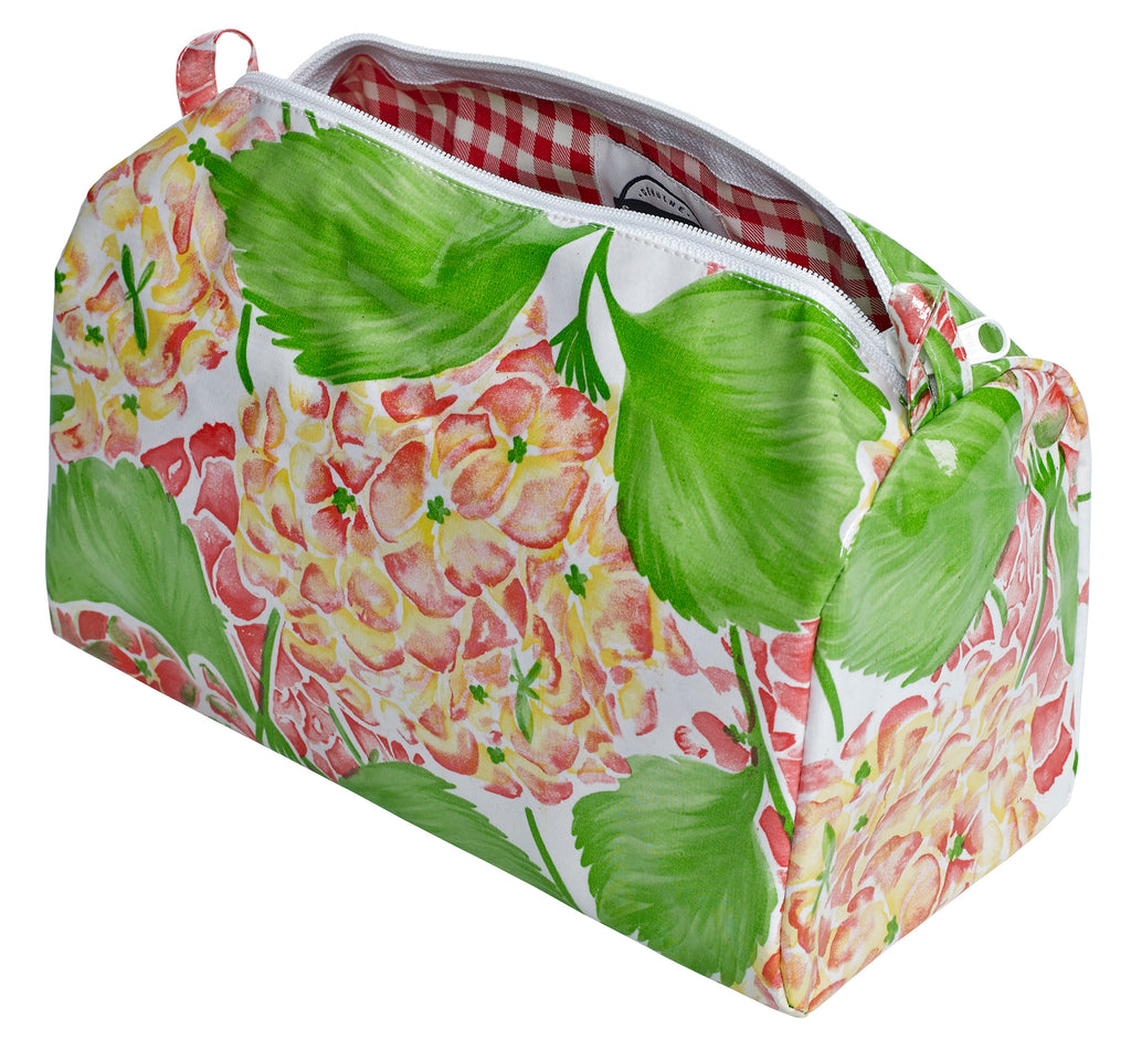 Freckled Sage Oilcloth Travel Bag Hydrangea