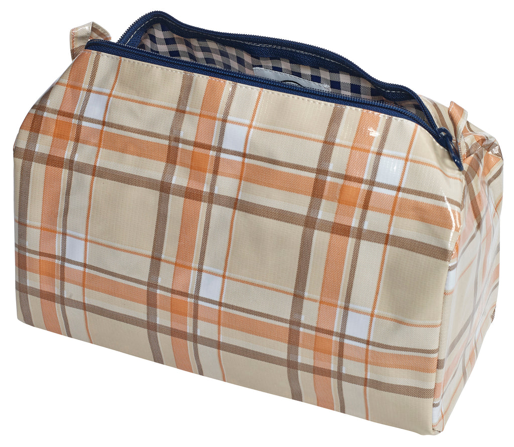 Freckled Sage Oilcloth Travel Bag Orange and Brown Plaid