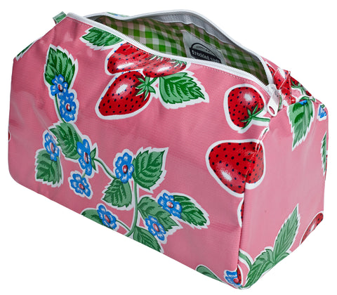 Freckled Sage Oilcloth Travel Bag Strawberry Pink
