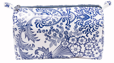 Freckled Sage Oilcloth Travel Bag Blue Toile