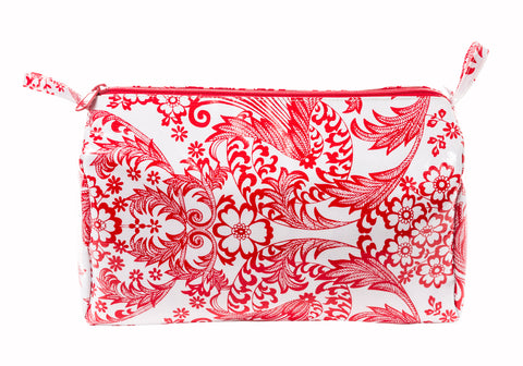 Freckled Sage Oilcloth Travel Bag Red Toile