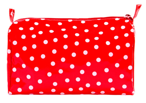 Freckled Sage Oilcloth Travel Bag White Dot on Red