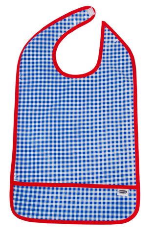 Freckled Sage Oilcloth Adult Bib Blue Gingham