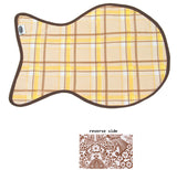 Freckled Sage Oilcloth Reversible Cat Mat in Plaid Yellow and Brown