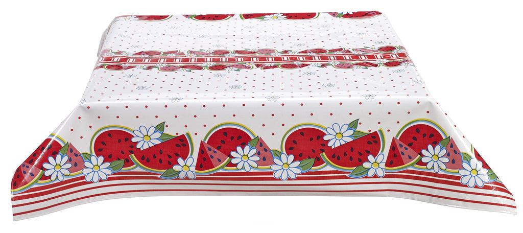 Freckled Sage Oilcloth Tablecloth Watermelon Red