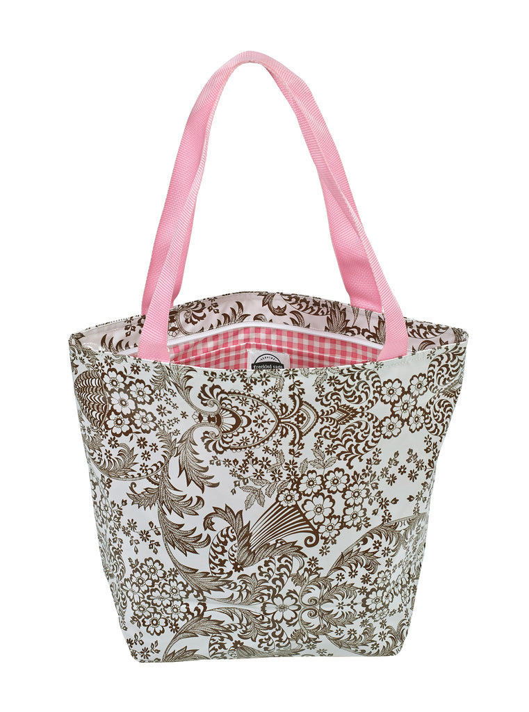 Freckled Sage Oilcloth Zip Tote Bag in Toile Brown