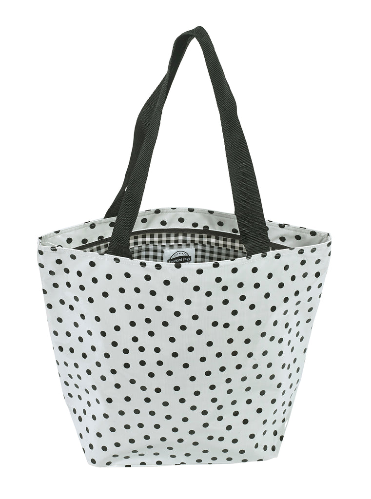 Freckled Sage Oilcloth Zip Tote Bag in Dot Black