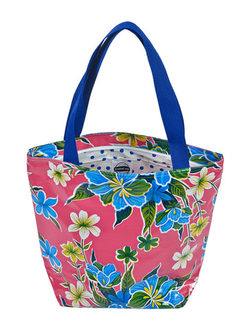 Freckled Sage Oilcloth Zip Tote Bag in Hawaii Pink