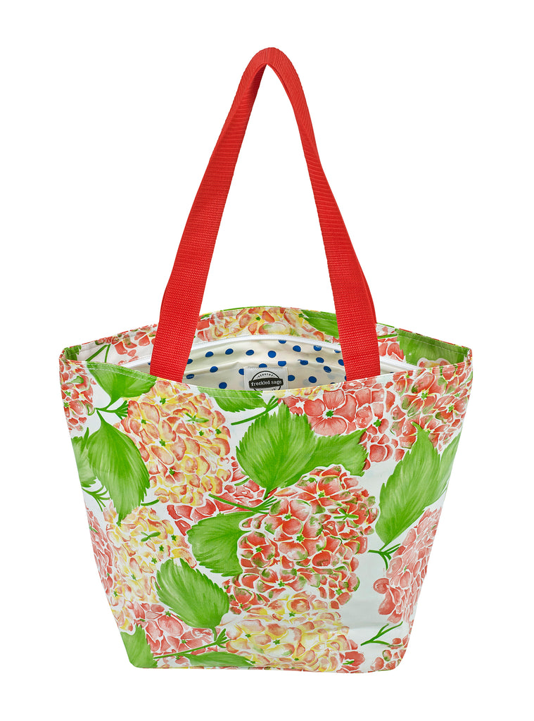 Freckled Sage Oilcloth Zip Tote Bag in Hydrangea
