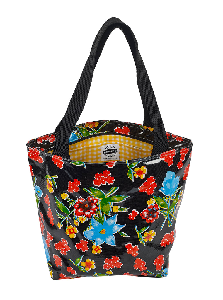 Freckled Sage Oilcloth Zip Tote Bag in Istanbul Black