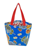 Freckled Sage Oilcloth Zip Tote Bag in Mum Blue