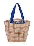 Freckled Sage Oilcloth Zip Tote Bag in Plaid Orange and Brown