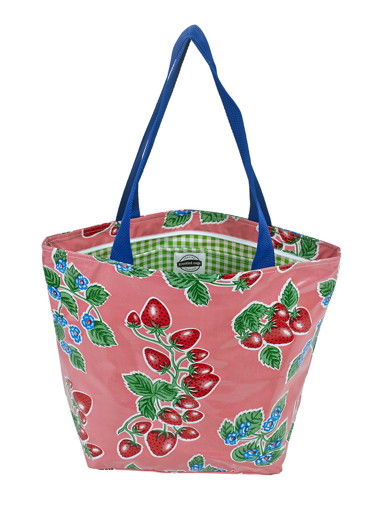 Freckled Sage Oilcloth Zip Tote Bag in Strawberry Pink