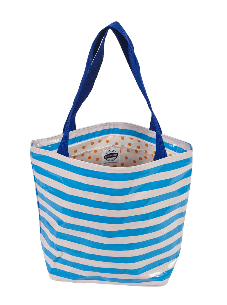 Freckled Sage Oilcloth Zip Tote Bag in Stripe Light Blue