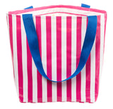 Freckled Sage Oilcloth Zip Tote Bag in Stripe Pink