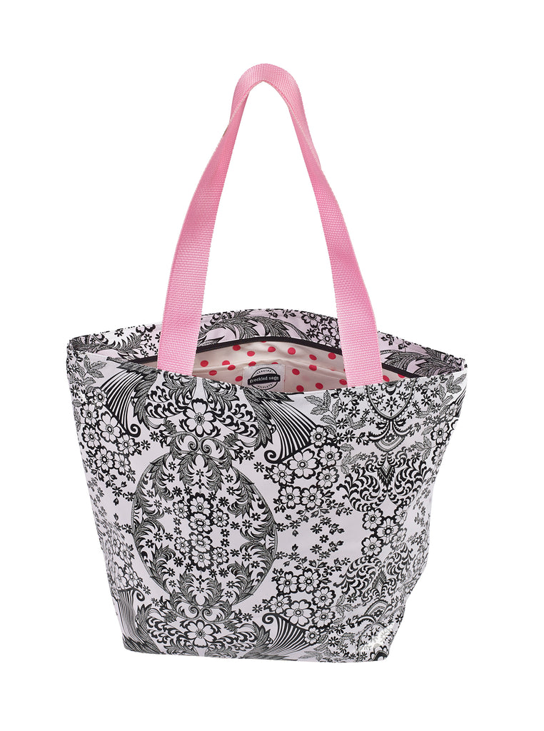 Freckled Sage Oilcloth Zip Tote Bag in Toile Black