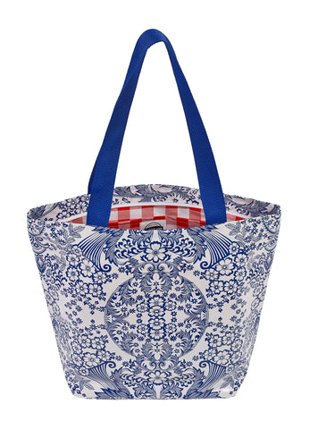 Freckled Sage Oilcloth Zip Tote Bag in Toile Blue