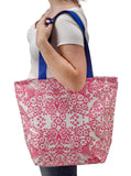 Freckled Sage Oilcloth Zip Tote Bag in Pink Toile