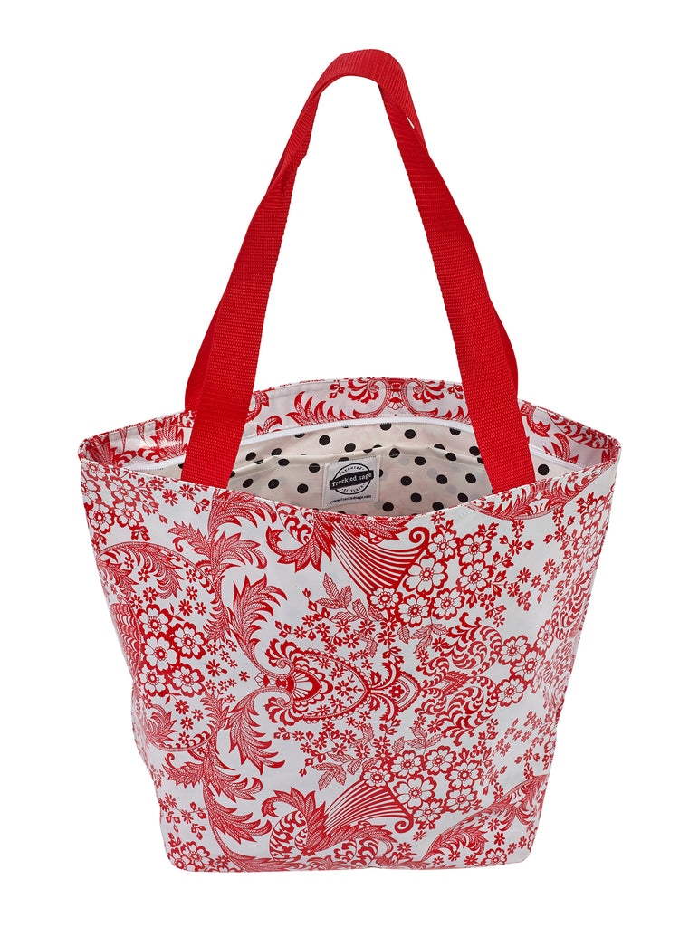 Freckled Sage Oilcloth Zip Tote Bag in Red Toile