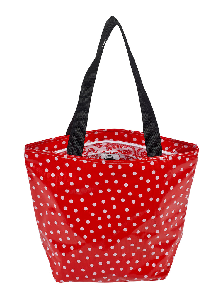 Freckled Sage Oilcloth Zip Tote Bag in White Dot on Red