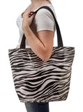 Freckled Sage Oilcloth Zip Tote Bag in Zebra