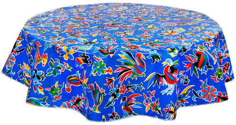Round Oilcloth Tablecloth in Animal Wonderland Blue