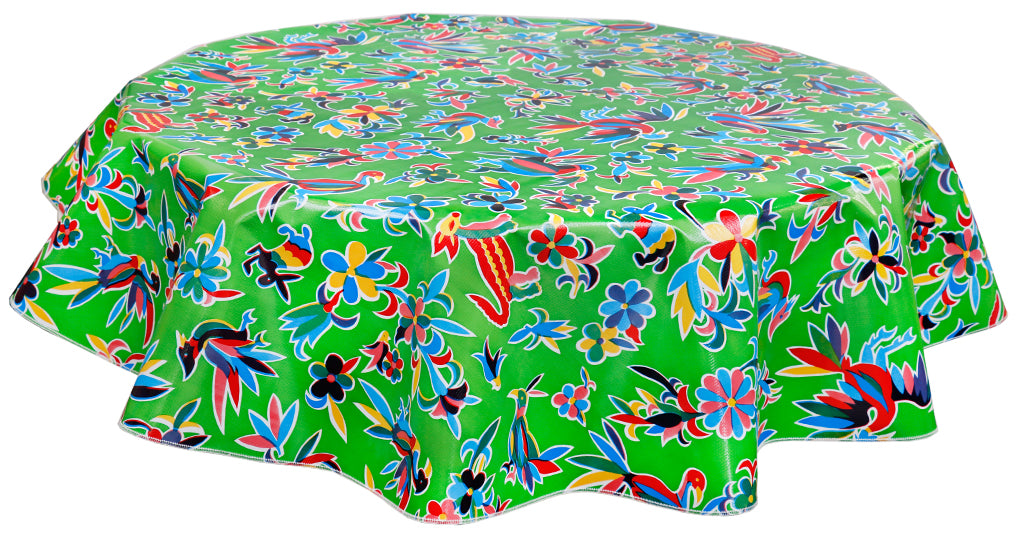 Round Oilcloth Tablecloth in Animal Wonderland Lime
