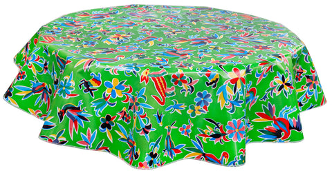 Charmant Round Oilcloth Tablecloth In Animal Wonderland Lime