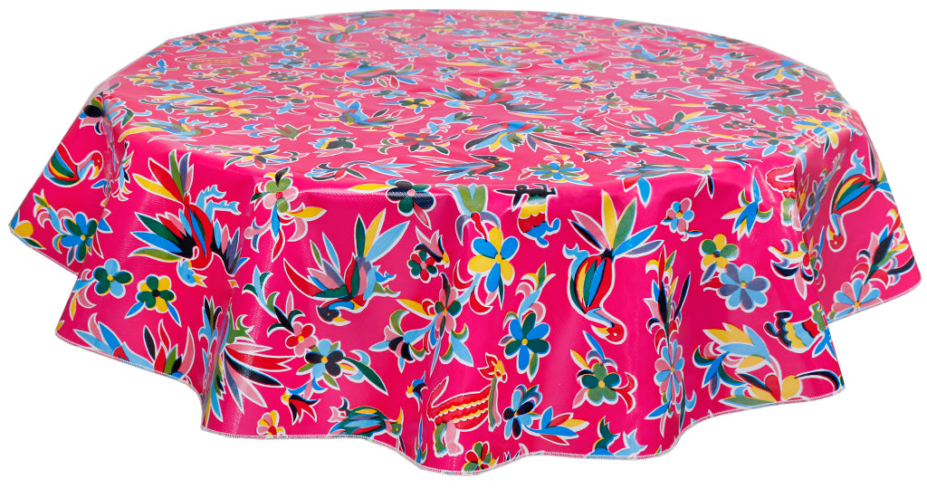 Round Oilcloth Tablecloth in Animal Wonderland Pink