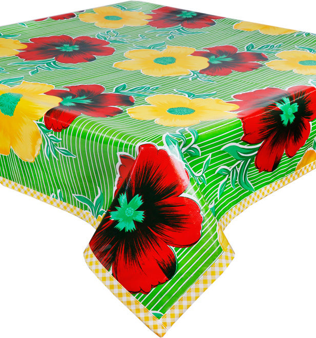 Freckled Sage Oilcloth Tablecloth Big Flowers and Stripes Lime