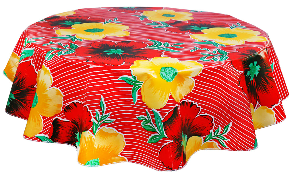 Round Oilcloth Tablecloth in Big Flowers and Stripes Red