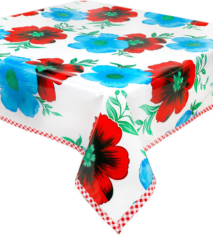 Freckled Sage Big Flowers on White Oilcloth Tablecloth