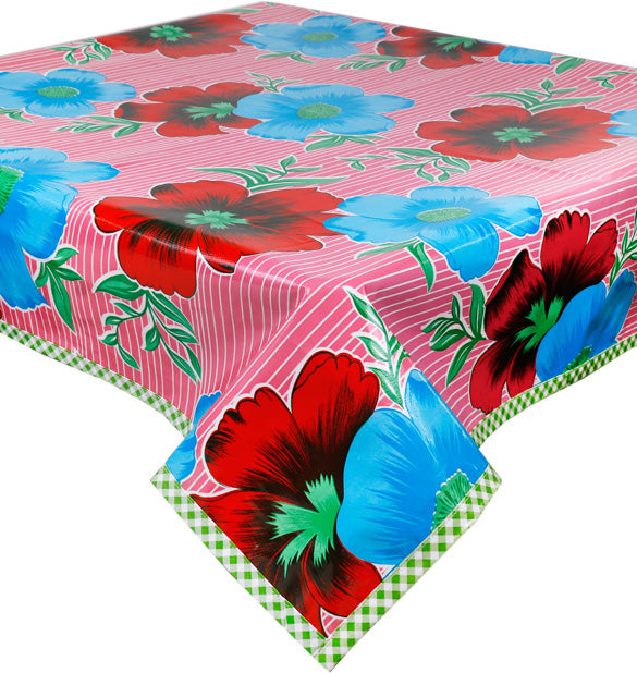 Freckled Sage Oilcloth Tablecloth Flowers and Stripes Pink Square or Rectangular