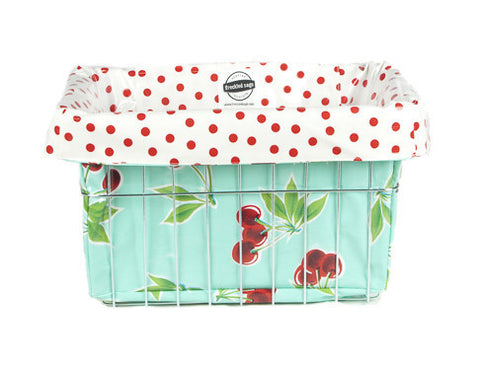 Freckled Sage Oilcloth Bike Basket Liner Cherry Aqua