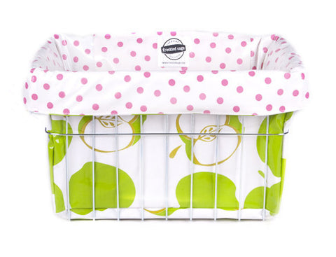 Freckled Sage Oilcloth Bike Basket Liner Mod Apple Green
