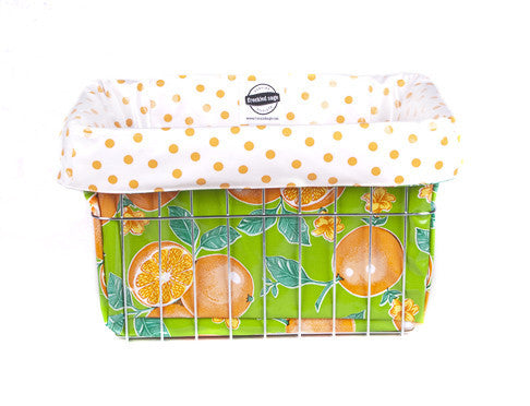 Freckled Sage Oilcloth Bike Basket Liner Oranges Lime
