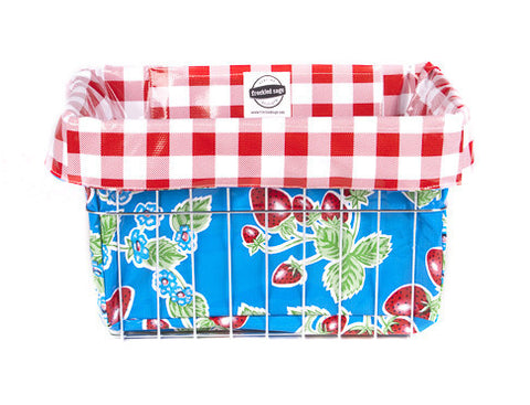 Freckled Sage Oilcloth Bike Basket Liner Strawberry Blue
